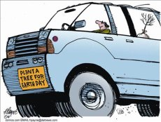 SUV plant a tree cartoon